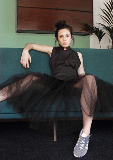 Mid-long rehearsal tulle skirt
