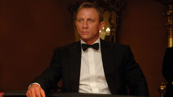 Daniel Craig as James Bond wearing a Turnbull & Asser shirt
